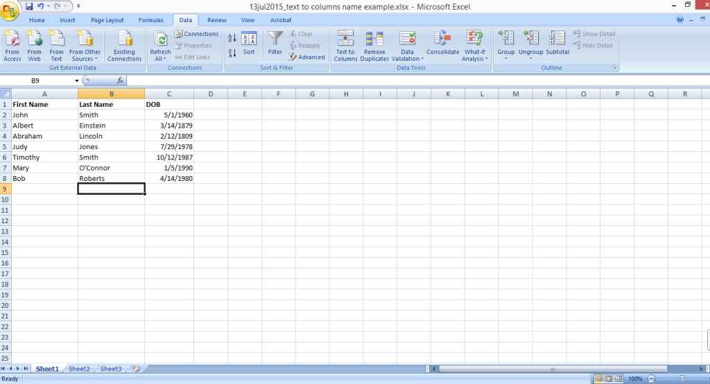 excel text to columns separate first and last names