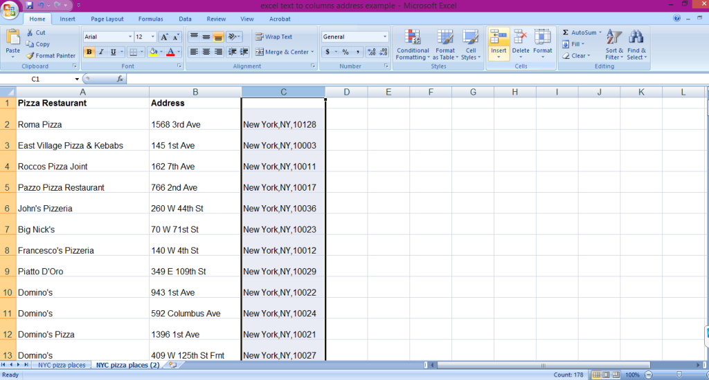A tutorial showing how to use Microsoft Excel's text to column functions to split an address into separate columns.
