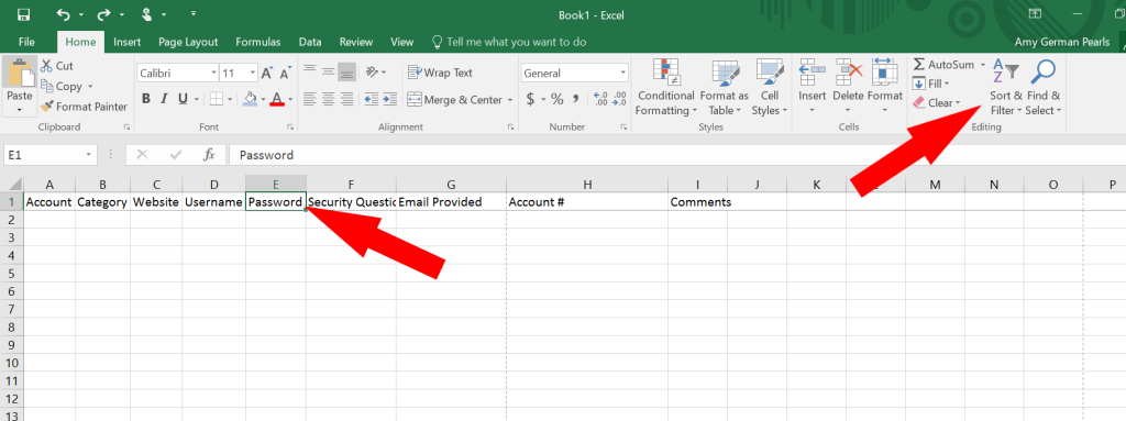 How to Use Microsoft Excel as a Password Keeper (or a Password Log)