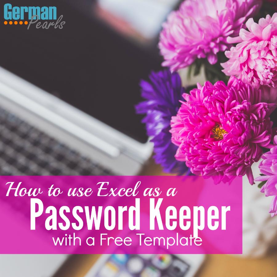 passwords excel template
