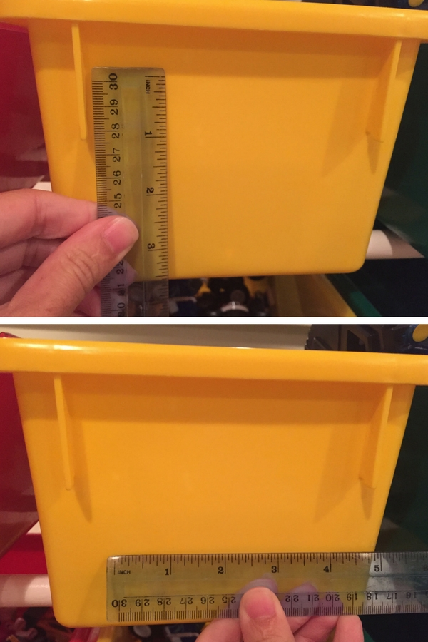 measure your toy storage bins to determine what size labels you want to make