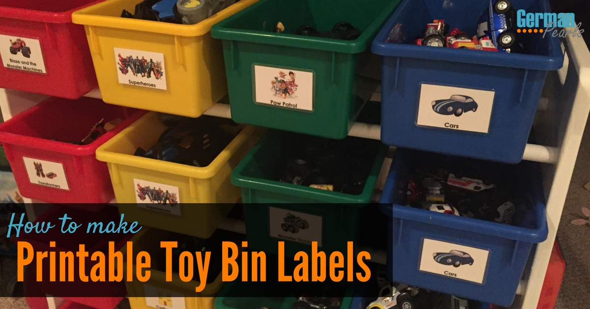 How to Make Printable Labels for Toy Storage Bins