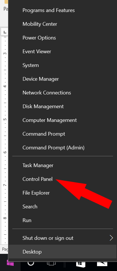 How to access the control panel in Windows 10