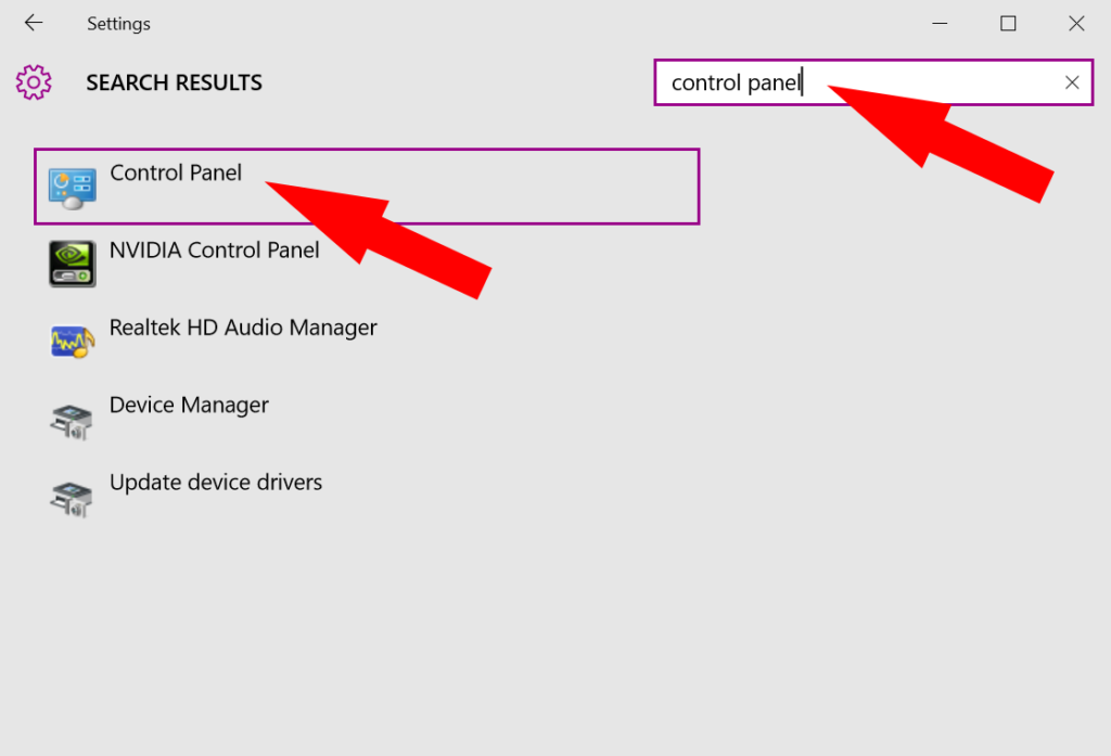 Access the control panel in Windows 10 through the settings app