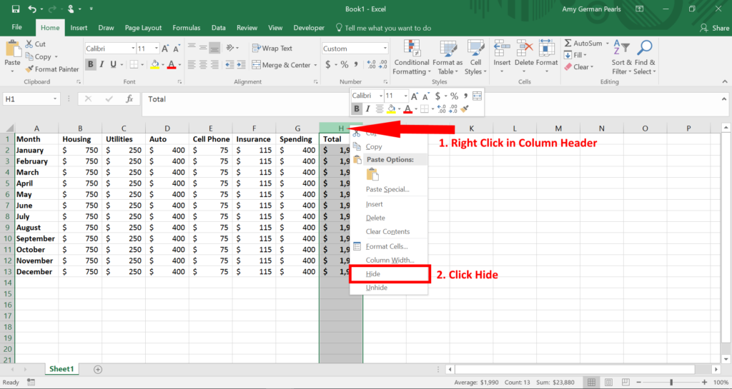 Hide and Unhide Columns in Excel