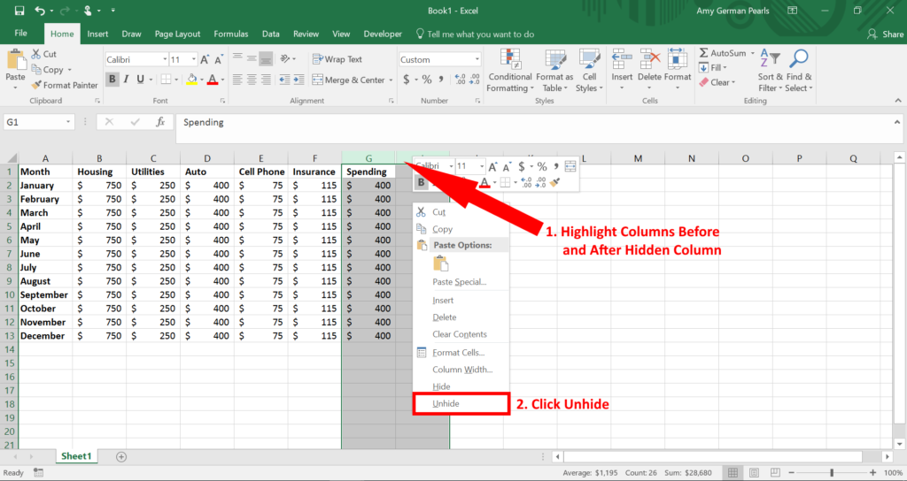 How to Hide a Column and Unhide a Column using Excel