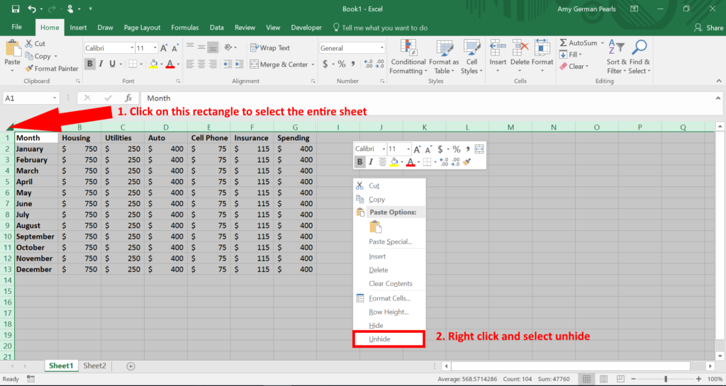 Unhide all columns in Microsoft Excel