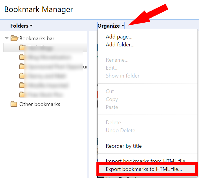 export chrome bookmarks to an html file