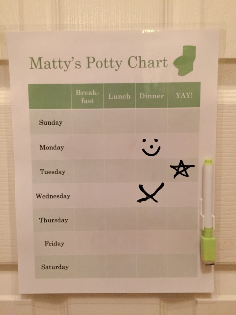 DIY Printable Potty Chart Laminated