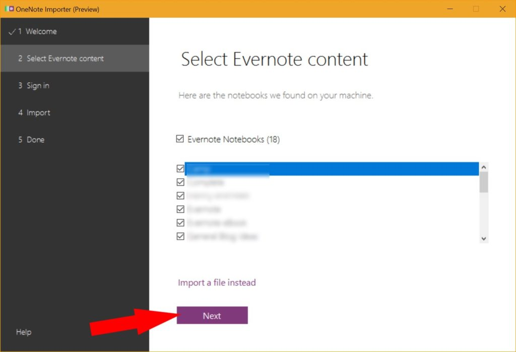 Export Evernote notes to import to OneNote on a PC
