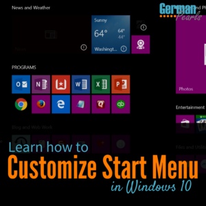 Organize or Customize Windows 10 Start Menu