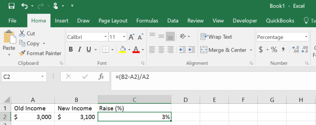 Formula for percent change in Microsoft Excel